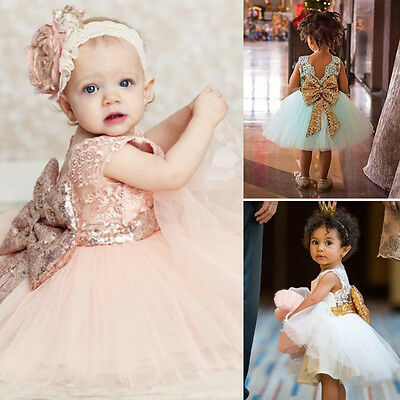 Kids Baby Girl Sequins Bowknot Princess Dress Ball Gown Party Bridesmaid Clothes