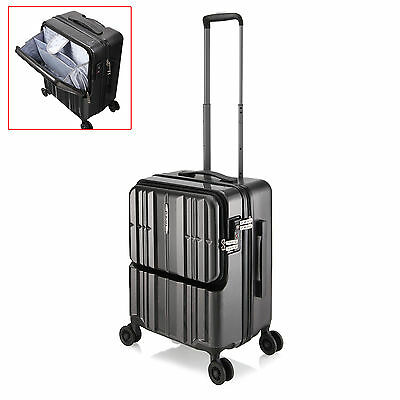 "20"" Black Portable Luggage Carry On Travel Laptop 4 Wheels Trolley Bag Business"