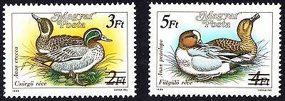 Hungary 1989 Birds - Ducks Stamps of 1988 Surcharged Set of 2 stamps  MNH