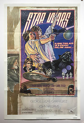 STAR WARS -- Original 1977 US theatrical one sheet movie poster.  Measures 27x41