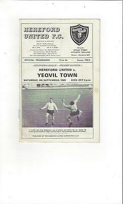 Hereford United v Yeovil Town Football Programmes 1965/66