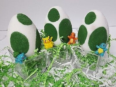 Handmade Pokemon Inspired Egg Bath Bombs sented gift hand made green/white