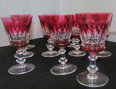 Val St Lambert Crystal Esneux Rose Wine Glasses Clarets Mint / Sold Individually