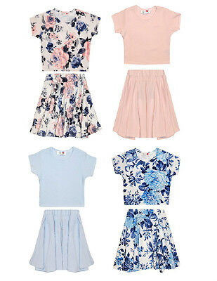 Girls MINX Crop Top & Skirt Set Floral / Pink / Pastel Blue 7 8 9 10 11 12 13