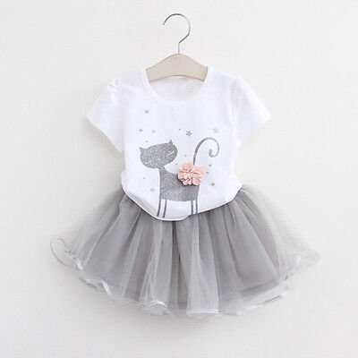 2PSC Kids Baby Girls Princess Outfits T-Shirt Tops+Tutu Skirt Dress Clothes Set