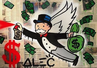 Alec Monopoly Oil Painting on Canvas Graffiti art home Decor The Angel 28x36""
