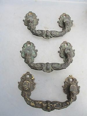 Antique Brass Chest Handles Chest Pulls Gilt French Rococo Baroque Vintage Old