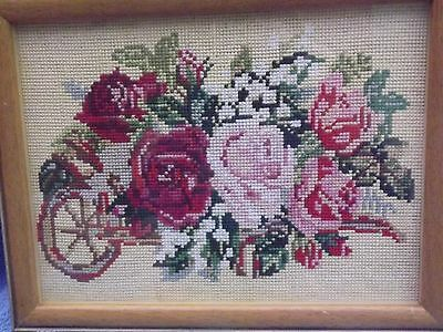 GLASS FRAMED TAPESTRY PICTURE ROSES SCENE SIZE 12.5 X 10 inches