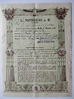 Historische Wertpapier, L. MOSSERI & Co., LE CAIRE;  Soon to be 100 years old.