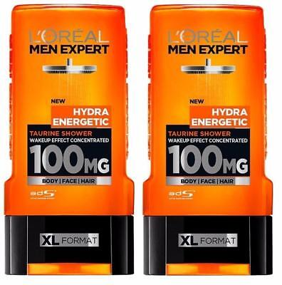 ** 2 X L'oreal Men Expert Hydra Energetic Taurine Shower Gel 300Ml New Body