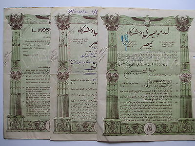 3x Historische Wertpapier, L. MOSSERI & Co., LE CAIRE; Soon to be 100 years old.