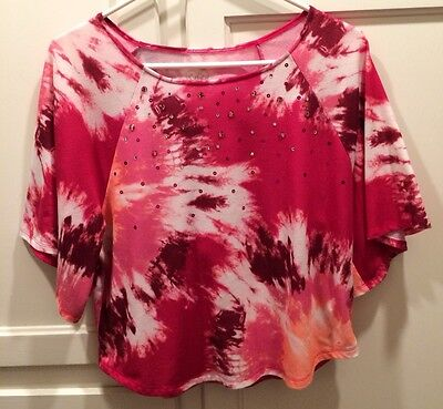 JUSTICE Girl's Top Sz 14 Pink Shirt With Embellishments Top