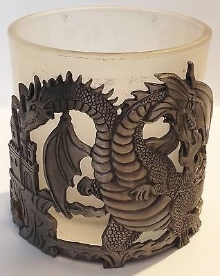Nice Metal Castle & Dragon Candle Holder W/frosted Glass Insert