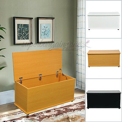 Large Ottoman Wooden Storage Toy Box Chest Trunk with Lid White/ Black/ Beech