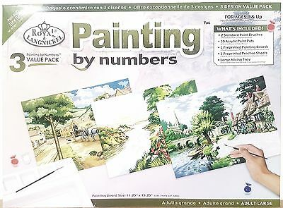 Acrylic Painting by Numbers Set of 3 Designs A3 Large Adults Royal & Langnickel
