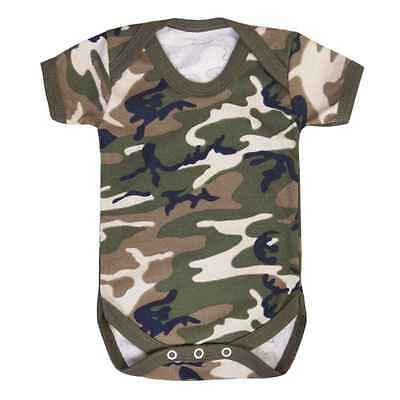 Camouflage army military fun babygrow baby suit vest all sizes cute baby shower