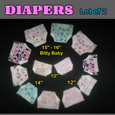 """DIAPER Lot of 2 -  10"""" 12"""" 14"""" or 16""""  Baby Doll Handmade by the Crafty Grandmas"""