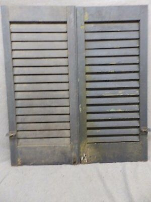 Antique Pair Window Wood Louvered Shutter Shabby Old Chic Vtg 34x15 107-17R