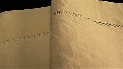 French antique hand embroidered écru linen large sheet hand sewn hem excell cdn
