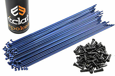 50 x ECLAT STAINLESS STEEL 184mm 14 Gauge BLUE SPOKES WITH BLACK NIPPLES FOR BMX