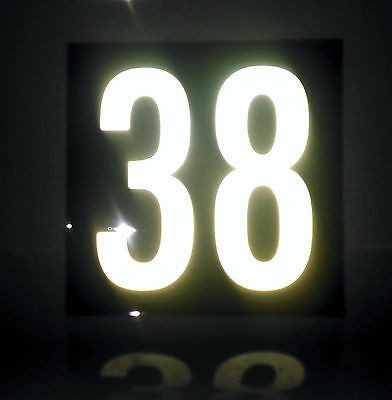 White Reflective on Black House Number Signs / 150mm x 150mm