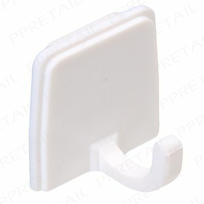 12 x Self Adhesive White Hooks Stick On Wall Sticky Clothes/Hat/Coat Hanger/Peg