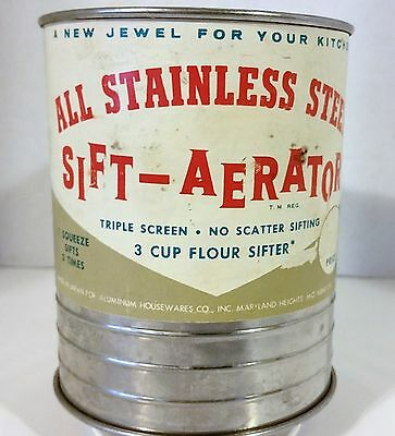 Vintage,Sift-aerator, triple screen, 3 cup flour sifter, # 1702