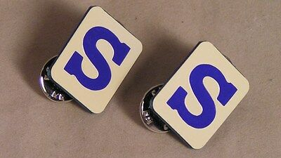 """Salvation Army - PAIR BLUE """"S"""" UNIFORM PINS - 3 SETS AVAILABLE"""