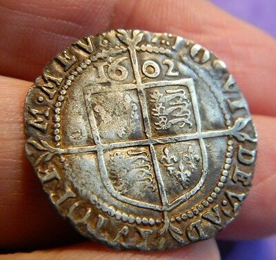 Tudor Period 1602  Elizabeth 1St Silver Sixpence Rose Beside Bust( Last Year )