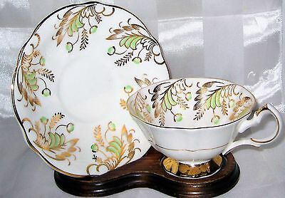 Queen Anne - Green Buds & Gold Filigree - Teacup Set