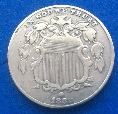 1882 Usa Shield Nickel (  5 Cents ) Coin