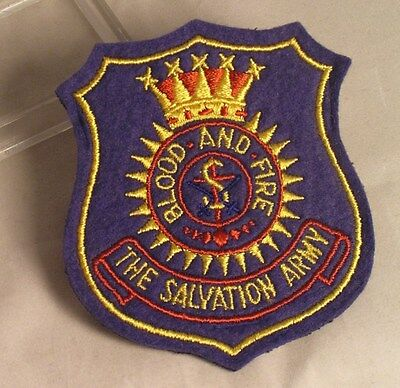 Salvation Army - CLOTH PATCH  - EMBROIDERED SHIELD ON BLUE
