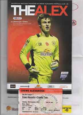 2016-CREWE ALEX v CRAWLEY TOWN-10/12/16-PROGRAMME-TEAMSHEET-TICKET-LEAGUE TWO