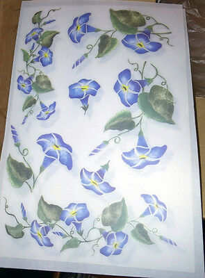 Morning Glory Bluish Purple Rub-On Transfers Decals 5 Sheets
