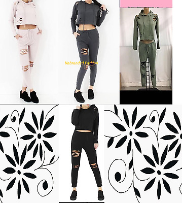 New Womens Cropped Distressed Hoodie & Joggers Loungewear Two Piece Set Uk 8-14