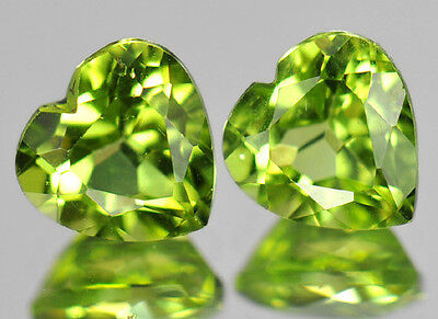 5 PIECES OF 3mm HEART-FACET STRONG-GREEN NATURAL AFGHAN PERIDOT GEMSTONES £1 NR!