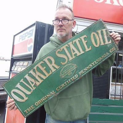 Original1930's Quaker State Motor Oil Gas Pennsylvania Embossed Tin Garage
