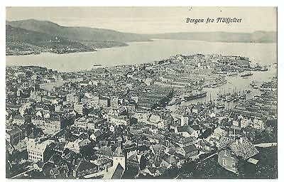 Bergen Panorama from Above PPC by GH no 001, Unposted & Early, Ships In Harbour