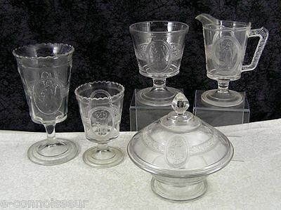 Antique Pittsburgh EAPG Cupid & Venus or Minerva Colorless Glass Table Set