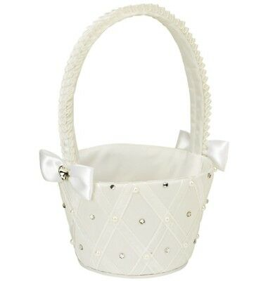 Satin Bridesmaid Flower girl Basket White