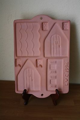 Ginger Bread House Mold Pan 5 inch Pottery Stoneware Cookie Baking Pan LVC 1996