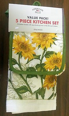 RARE 5 pc KITCHEN SET: 2 POT HOLDERS,1 OVEN MITT & 2 TOWELS, SUNFLOWERS by AM