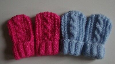 2 Pairs Hand Knitted Baby Mittens/Cable Design, Pink & Blue, 0-6 Months, BNWOT,