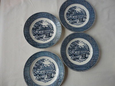 "Set of 4 Vintage Royal China Currier & Ives Blue 6 1/2"" Plates"