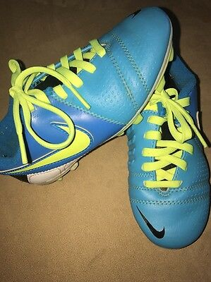 Nike Kids Soccer Cleats Blue Yellow Size 11. Youth