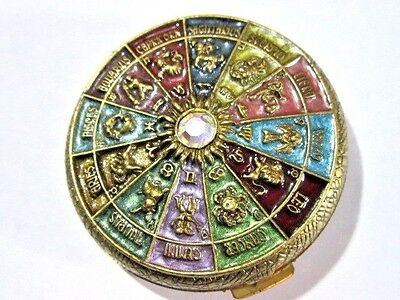 Sweet Romance Usa Signed Fancy Compact Enameled All Houses Of Zodiac Horoscope