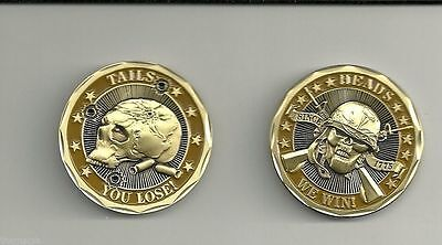 Military US Army Challenge Coin Heads Win Tails You Lose Rare Skull Crossbones