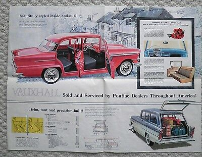 1959?1960 Vauxhall VICTOR POSTER / Brochure w/ Spec's: SUPER,ESTATE WAGON,