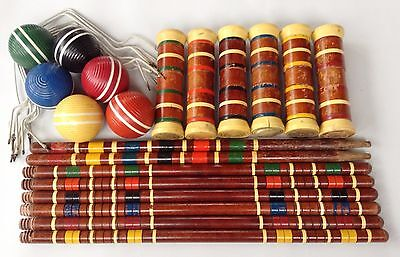 LAWNPLAY Vintage CROQUET Set -- Mallets, Balls, Wickets, Stakes