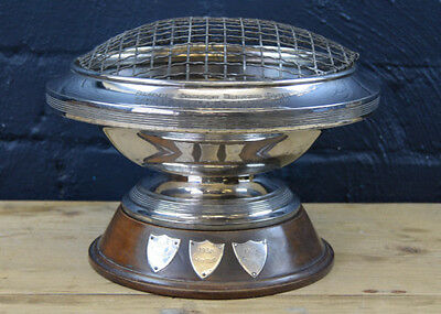 1930S Art Deco Walker & Hall Silver Plated Large Posy Bowl Tennis Trophy On Base